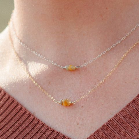 rough opal october birthstone necklaces