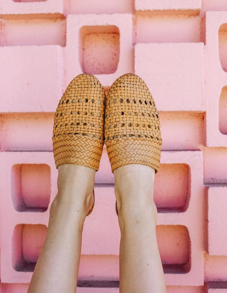 mid century bohemian fashion wicker slides mustard