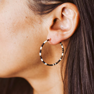 Topaz & Pearl Earrings 1.5 inch Black, Copper, and Ivory Speckled Hoops (2 sizes)