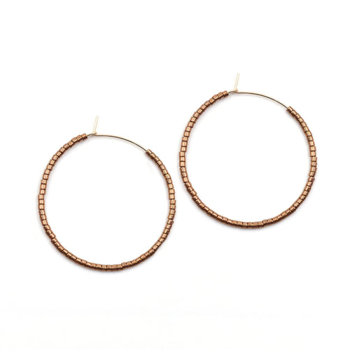 Topaz & Pearl Solid Hoops 1 inch / 14kt Gold Fill Bronze Solid Seed Bead Hoops