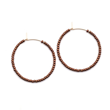 Topaz & Pearl Solid Hoops 1 inch / Sterling Dark Copper Solid Seed Bead Hoops