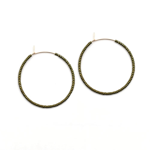 Topaz & Pearl Solid Hoops 1 inch / 14kt Gold Fill Galvanized Green Solid Seed Bead Hoops