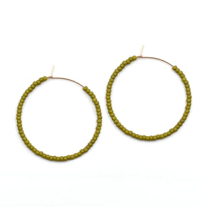 Topaz & Pearl Solid Hoops 1 inch / 14kt Gold Fill Green Apple Solid Seed Bead Hoops