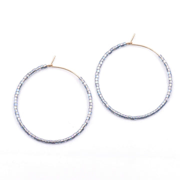 Topaz & Pearl Solid Hoops 1 inch / Sterling Iridescent Blue Solid Seed Bead Hoops