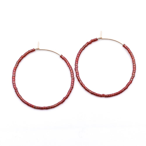 Topaz & Pearl Solid Hoops 1 inch / 14kt Gold Fill Iridescent Red Wine Solid Seed Bead Hoops