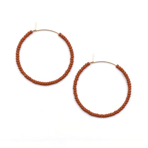 Topaz & Pearl Solid Hoops 1 inch / 14kt Gold Fill Rust Solid Seed Bead Hoops