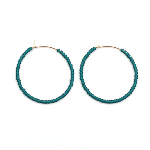 Topaz & Pearl Solid Hoops 1 inch / 14kt Gold Fill Teal Solid Seed Bead Hoops