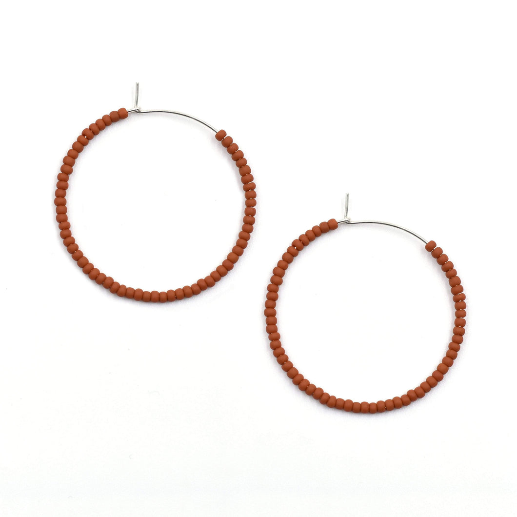 Topaz & Pearl Solid Hoops 1 inch / Sterling Rust Solid Seed Bead Hoops