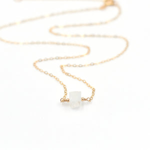 Topaz & Pearl Birthstone Necklaces 14k Yellow Gold Fill / Single Moonstone Organic Stone Necklace