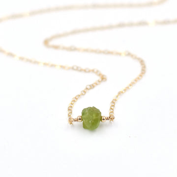 Topaz & Pearl Necklaces Peridot Organic Stone Necklace
