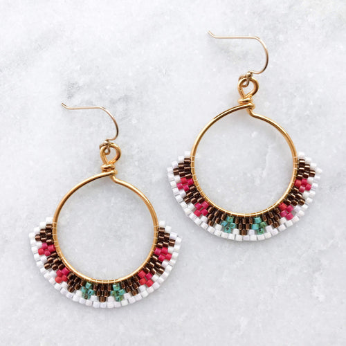 Topaz & Pearl Earrings 14kt Gold Fill Sundial Beadwork Earrings, Large, Turquoise and Red Beaded Hoops