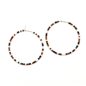 Topaz & Pearl Earrings Black, Copper, and Ivory Speckled Hoops (2 sizes)