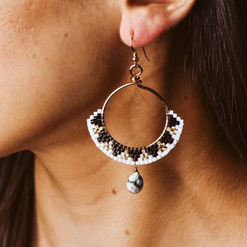 Topaz & Pearl Earrings Black Sundial Beadwork Earrings with Solar Quartz