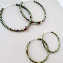 Load image into Gallery viewer, Topaz & Pearl Earrings Bronzed Hoops, Army Green
