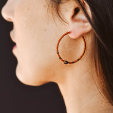 Load image into Gallery viewer, Topaz & Pearl Earrings Bronzed Hoops, Rust
