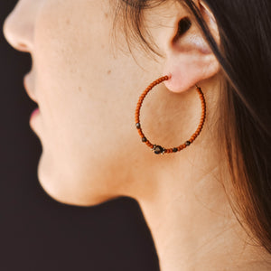 Topaz & Pearl Earrings Bronzed Hoops, Rust