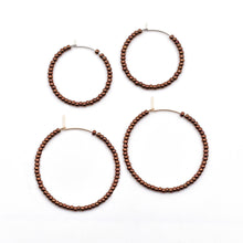 Load image into Gallery viewer, Topaz & Pearl Solid Hoops Dark Copper Solid Seed Bead Hoops