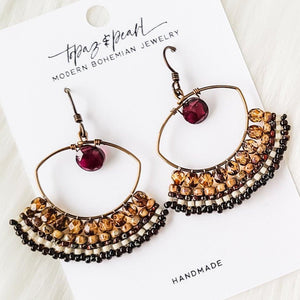 Topaz & Pearl Earrings Earthtone Boho Beadwork Chandelier Earrings with Garnet