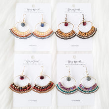 Load image into Gallery viewer, Topaz & Pearl Earrings Earthtone Boho Beadwork Chandelier Earrings with Garnet