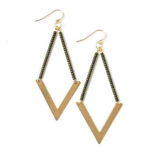 Topaz & Pearl Earrings Geometric Earrings, Army Green