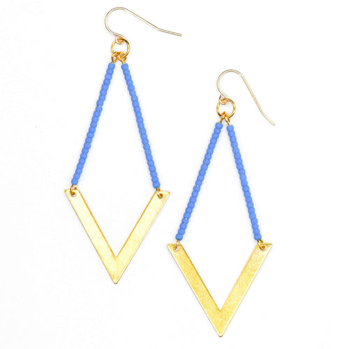 Topaz & Pearl Earrings Geometric Earrings, Cornflower Blue