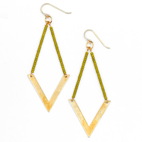 Topaz & Pearl Earrings Geometric Earrings, Green Apple