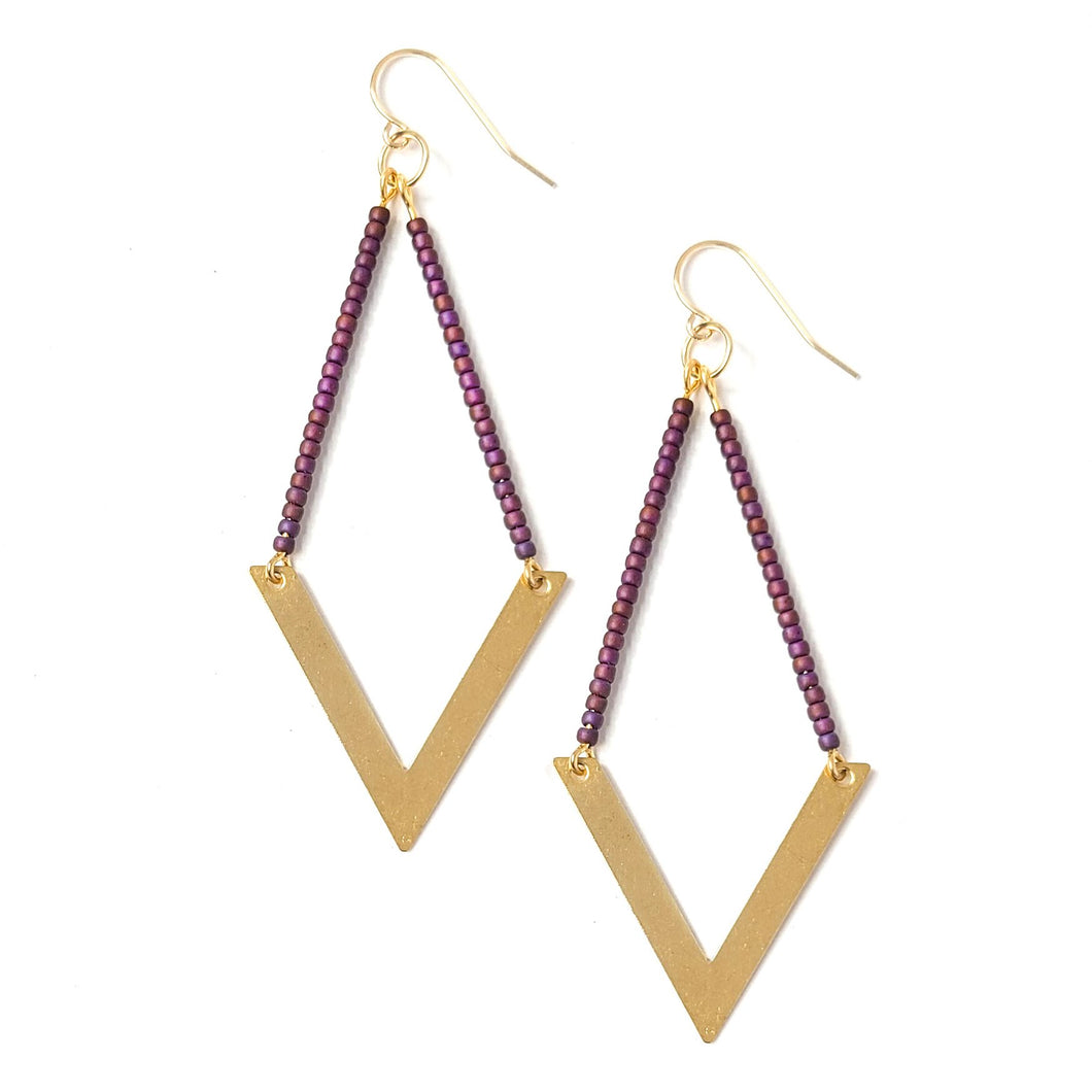 Topaz & Pearl Earrings Geometric Earrings, Mauve Mocha