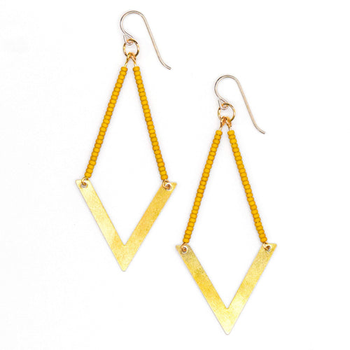 Topaz & Pearl Earrings Geometric Earrings, Mustard