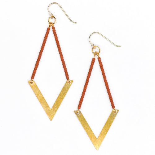 Topaz & Pearl Earrings Geometric Earrings, Rust