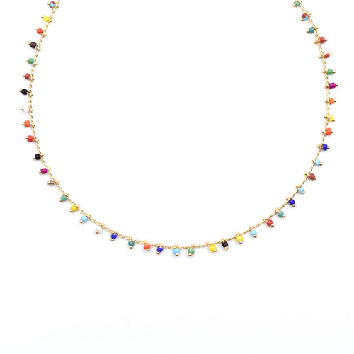 Topaz & Pearl Necklaces Gold Rainbow Confetti Beaded Short Necklace