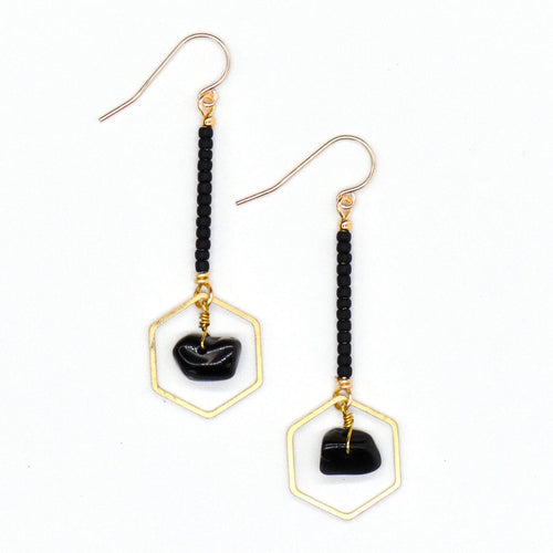 Topaz & Pearl Earrings Hexagon Drop Earrings, Obsidian & Black