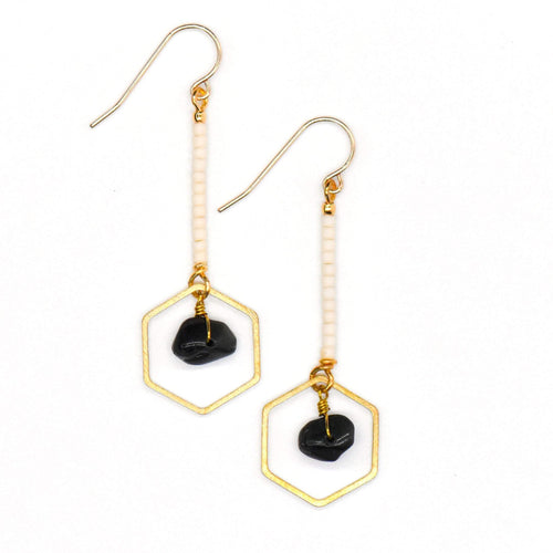 Topaz & Pearl Earrings Hexagon Drop Earrings, Obsidian & Ivory