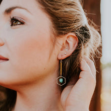 Load image into Gallery viewer, Topaz & Pearl Earrings Hexagon Drop Earrings, Obsidian & Mustard