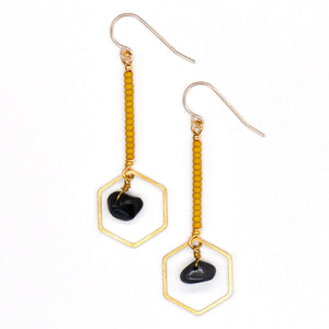 Topaz & Pearl Earrings Hexagon Drop Earrings, Obsidian & Mustard
