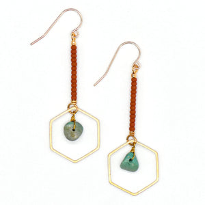 Topaz & Pearl Earrings Hexagon Drop Earrings, Turquoise and Rust