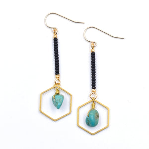 Topaz & Pearl Earrings Hexagon Drop Earrings, Turquoise & Black