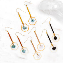 Load image into Gallery viewer, Topaz & Pearl Earrings Hexagon Drop Earrings, Turquoise & Copper