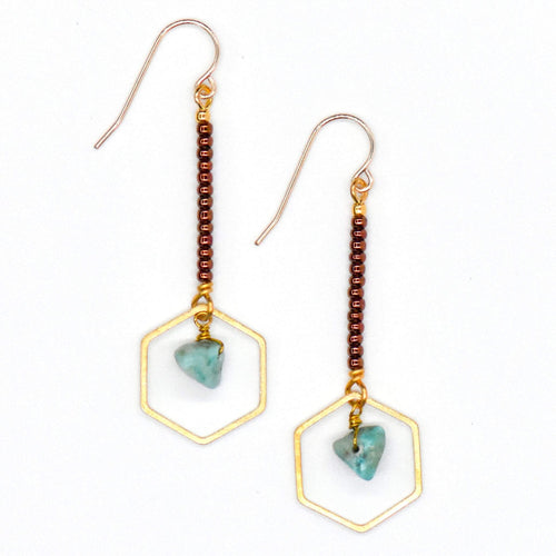 Topaz & Pearl Earrings Hexagon Drop Earrings, Turquoise & Copper