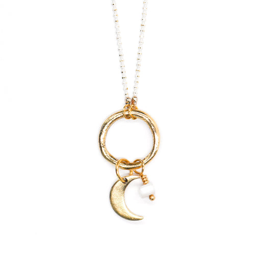 Topaz & Pearl Necklaces Ivory Crescent Moon Gemstone Necklace