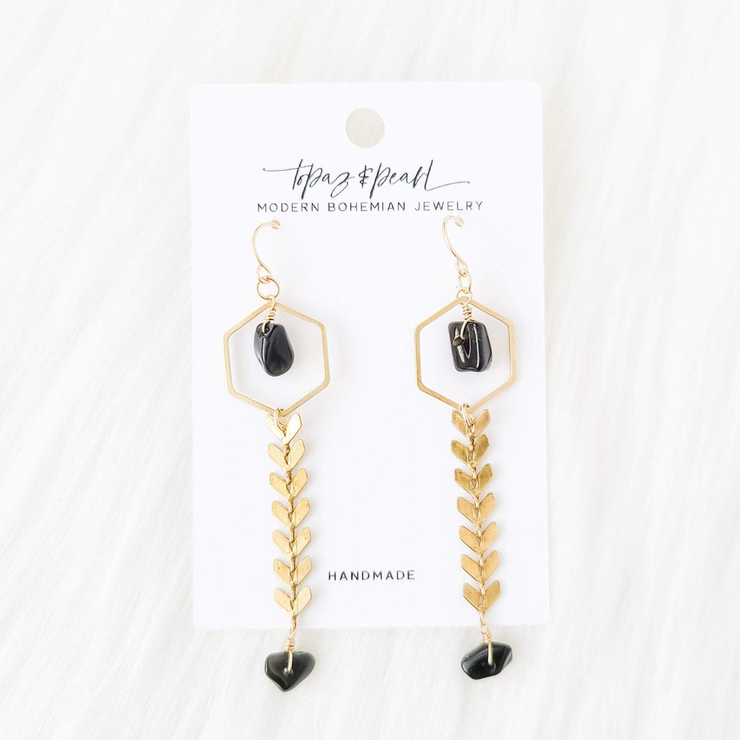 Topaz & Pearl Earrings Limited Edition Willow Earrings, Obsidian