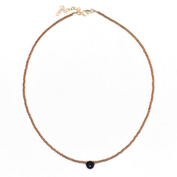 Topaz & Pearl Necklaces Onyx Beaded Choker, Bronze