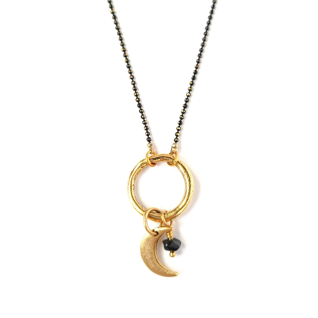 Topaz & Pearl Necklaces Onyx Crescent Moon Gemstone Necklace