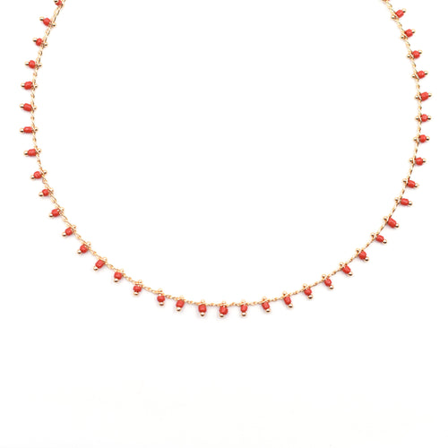 Topaz & Pearl Necklaces Red Confetti Beaded Short Necklace