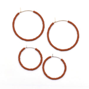 Topaz & Pearl Solid Hoops Rust Solid Seed Bead Hoops