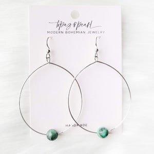 Topaz & Pearl Earrings Silver Simple Bead Hoops, African Turquoise