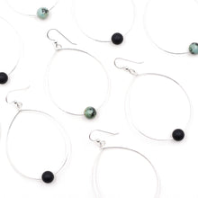 Load image into Gallery viewer, Topaz & Pearl Earrings Simple Bead Hoops, African Turquoise