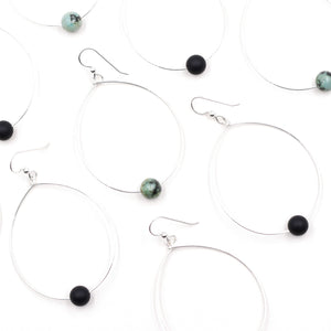 Topaz & Pearl Earrings Simple Bead Hoops, African Turquoise