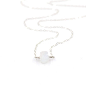 Topaz & Pearl Birthstone Necklaces Sterling Silver / Single Moonstone Organic Stone Necklace