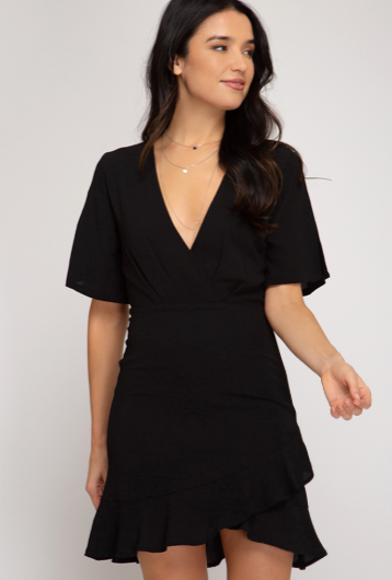 HALF FLUTTER SLEEVE SURPLICE WOVEN DRESS WITH LINING AND RUFFLE HEM