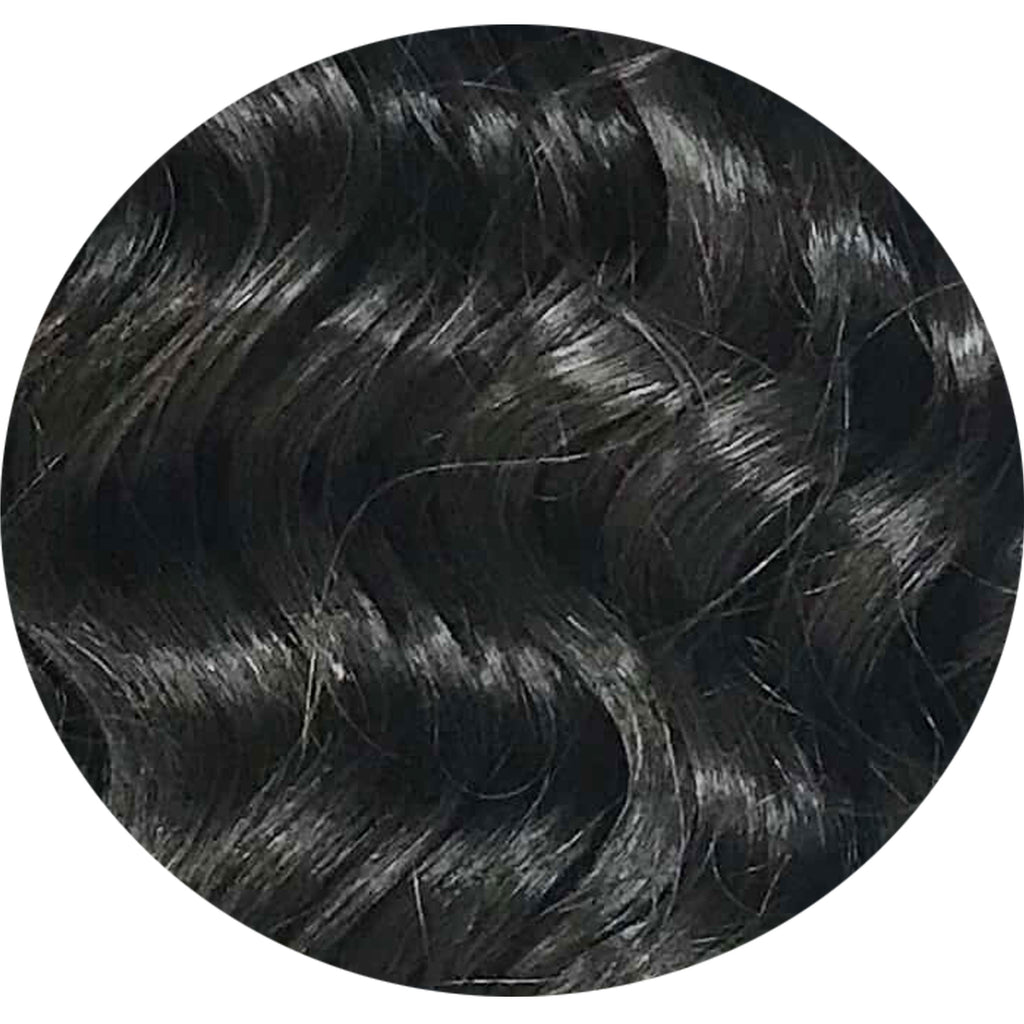 "Mulberry Curly Halo Hair Extensions Natural Black 18"" Colour Swatch"